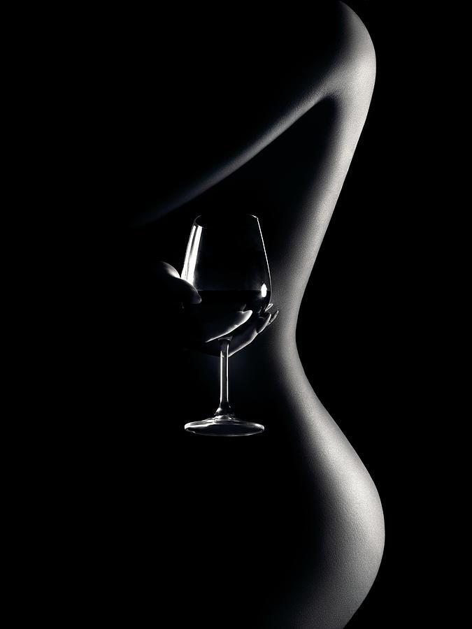 Nude woman red wine 3 by Johan Swanepoel