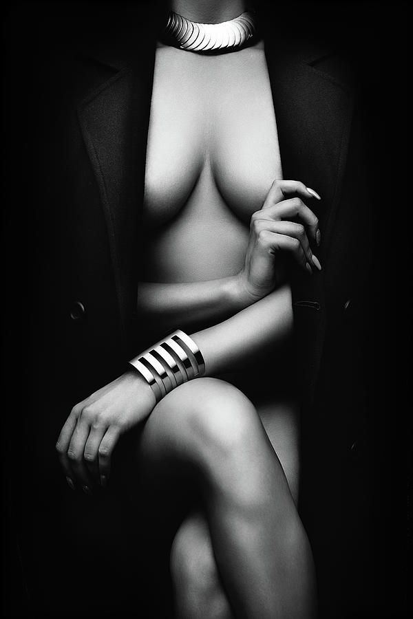 Woman Photograph - Nude Woman with jacket 1 by Johan Swanepoel