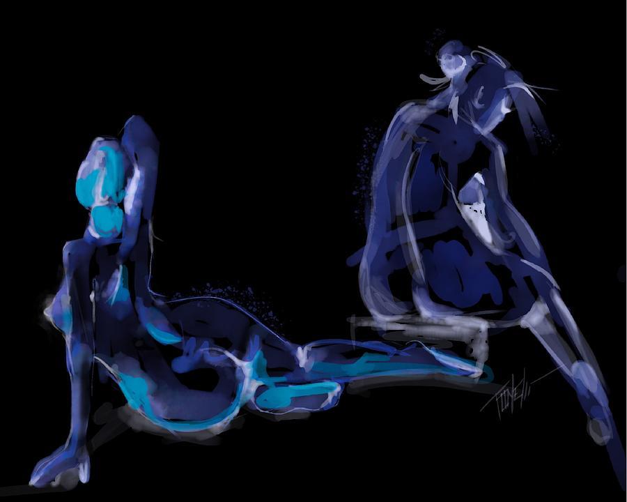 Nudes In Pose Minimalist Art Mixed Media