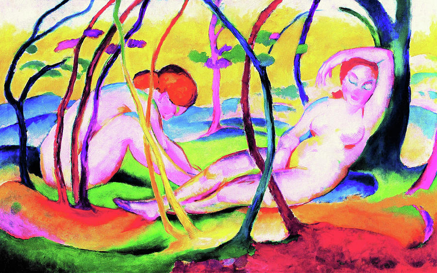 Franz Marc Painting - Nudes Under Trees - Digital Remastered Edition by Franz Marc