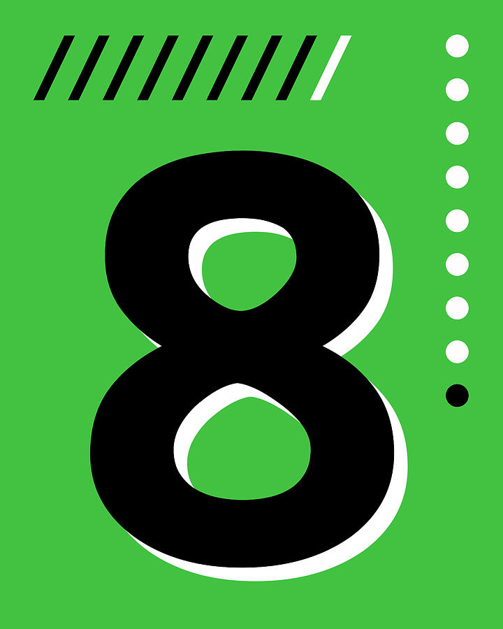 Number Eight - Pop Art Print - Green Mixed Media
