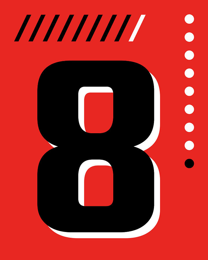 Number Eight - Pop Art Print - Red Mixed Media