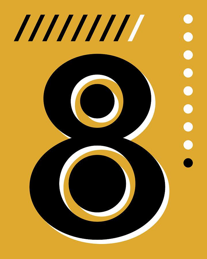 Number Eight - Pop Art Print - Yellow Mixed Media
