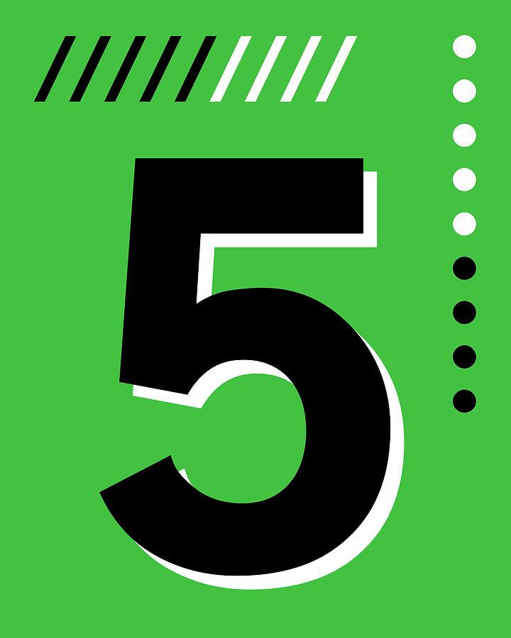 Number Five - Pop Art Print - Green Mixed Media