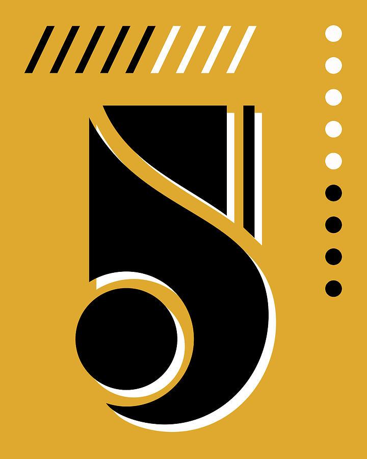 Number Five - Pop Art Print - Yellow Mixed Media