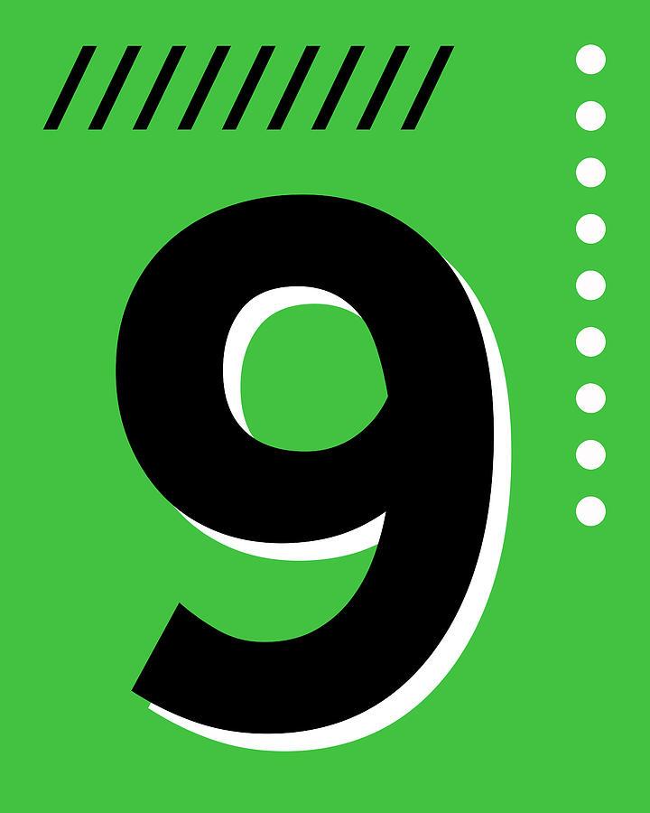 Number Nine - Pop Art Print - Green Mixed Media