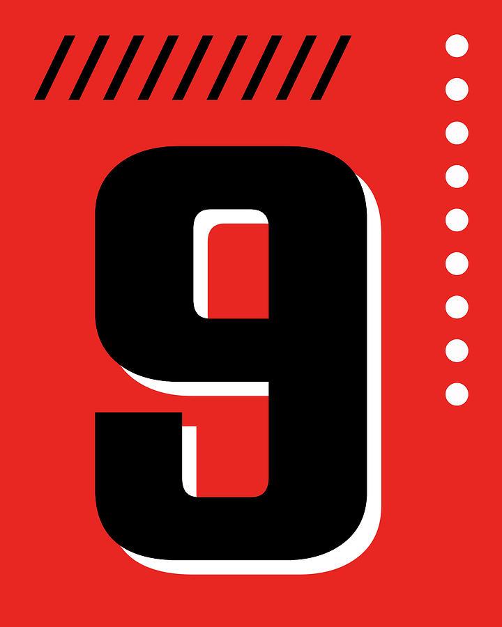 Number Nine - Pop Art Print - Red Mixed Media