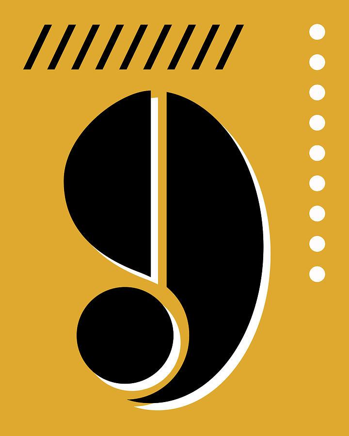 Number Nine - Pop Art Print - Yellow Mixed Media