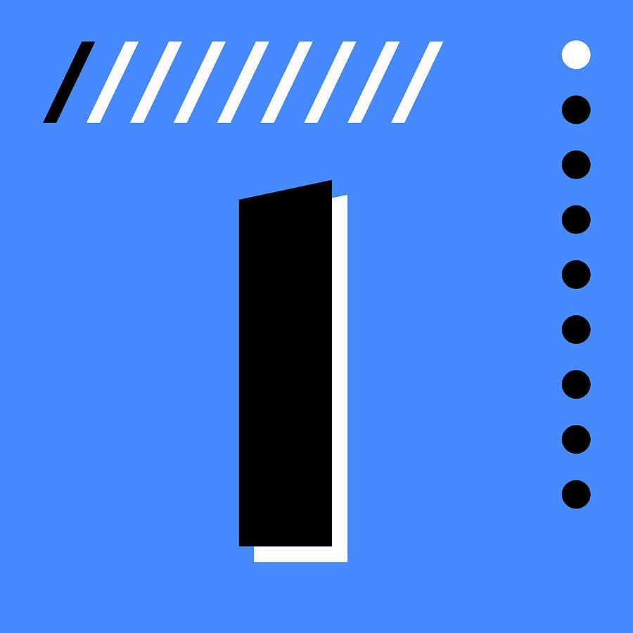 Number One - Pop Art Print - Blue Mixed Media