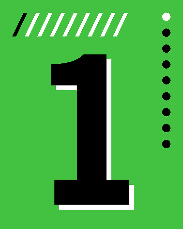 Number One - Pop Art Print - Green Mixed Media