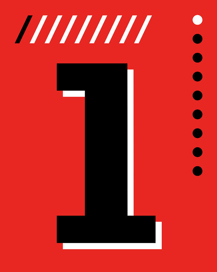 Number One - Pop Art Print - Red Mixed Media