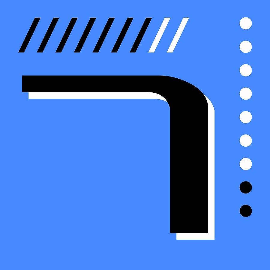 Number Seven - Pop Art Print - Blue Mixed Media