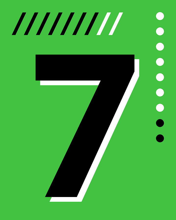 Number Seven - Pop Art Print - Green Mixed Media