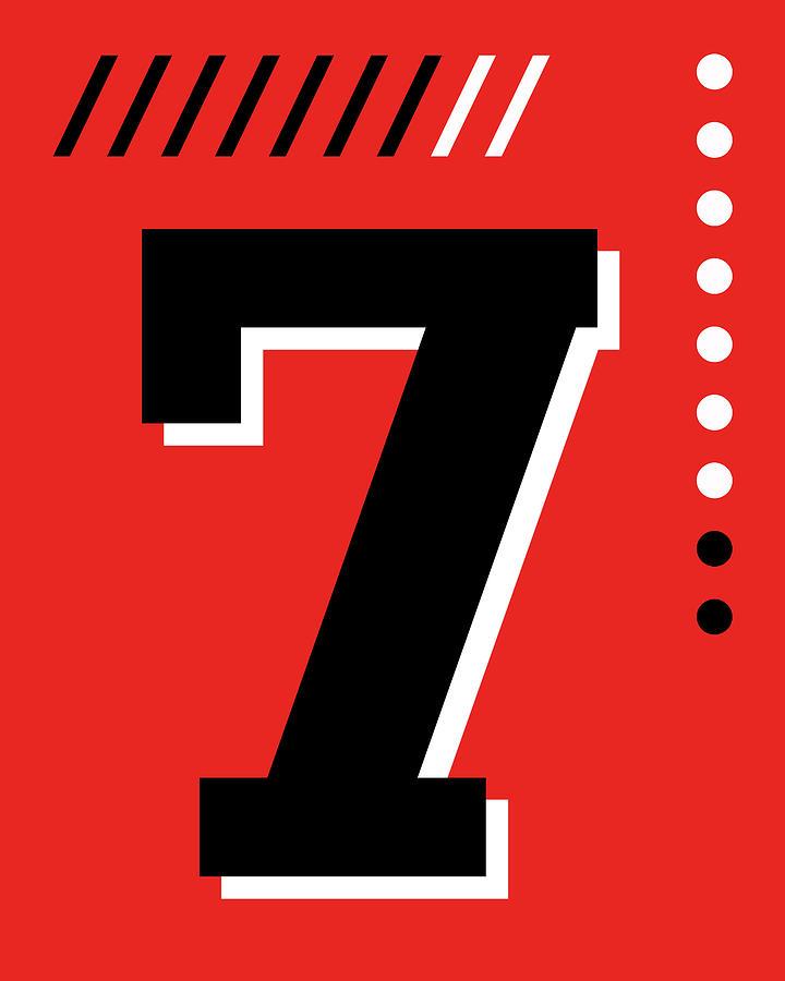 Number Seven - Pop Art Print - Red Mixed Media
