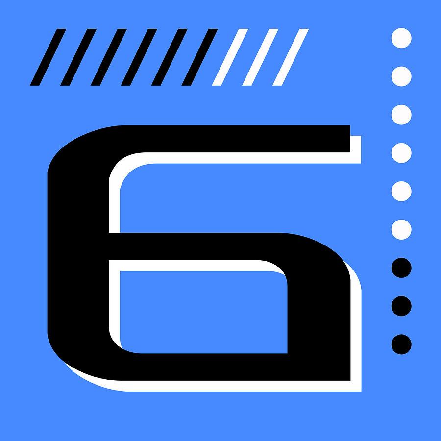 Number Six - Pop Art Print - Blue Mixed Media
