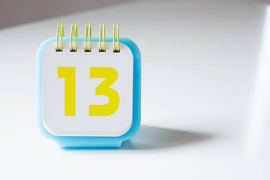 Number thirteen on a calendar Photograph by Image Source