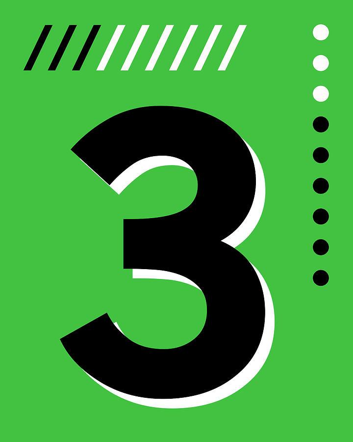 Number Three - Pop Art Print - Green Mixed Media