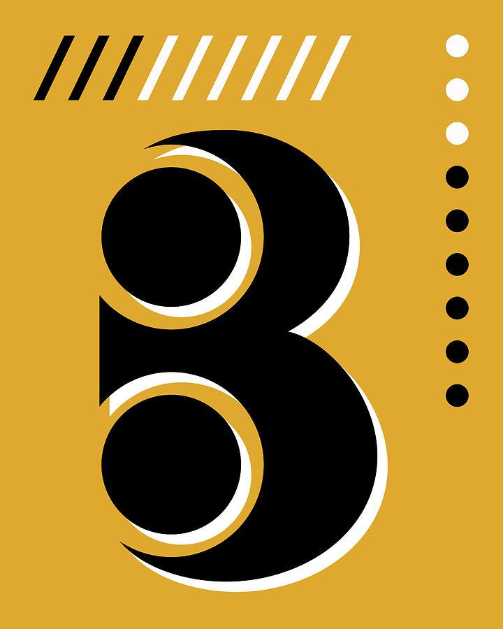 Number Three - Pop Art Print - Yellow Mixed Media
