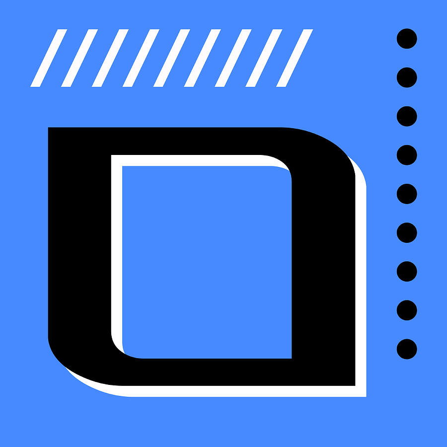 Number Zero - Pop Art Print - Blue Mixed Media