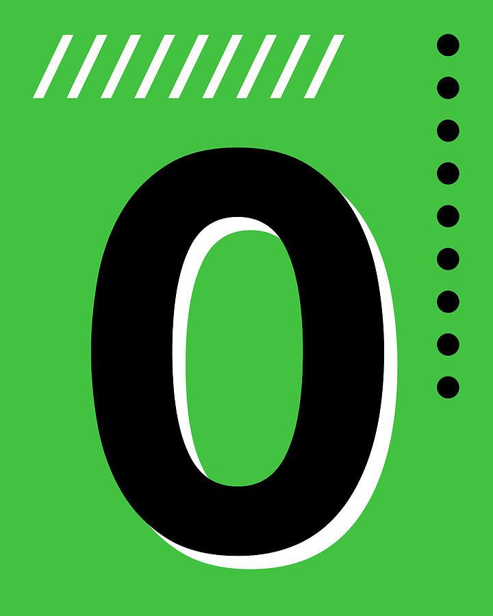 Number Zero - Pop Art Print - Green Mixed Media