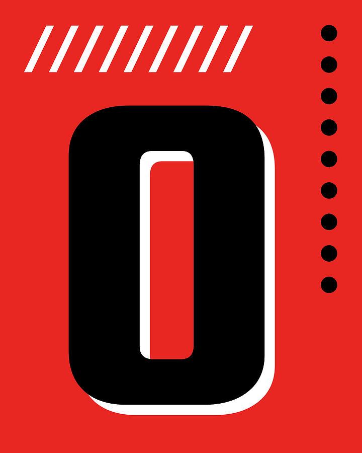 Number Zero - Pop Art Print - Red Mixed Media
