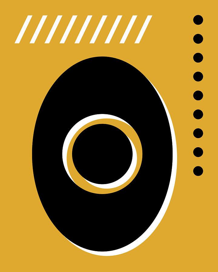 Number Zero - Pop Art Print - Yellow Mixed Media