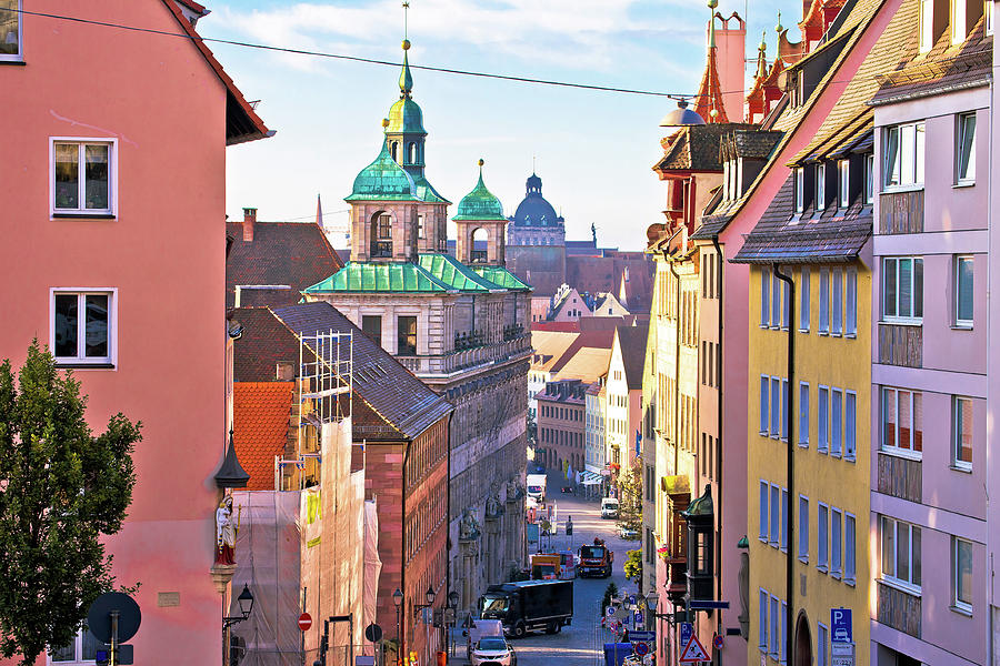 Nurnberg. Colorful street architecture on Nuremberg Burgstrasse  by Brch Photography