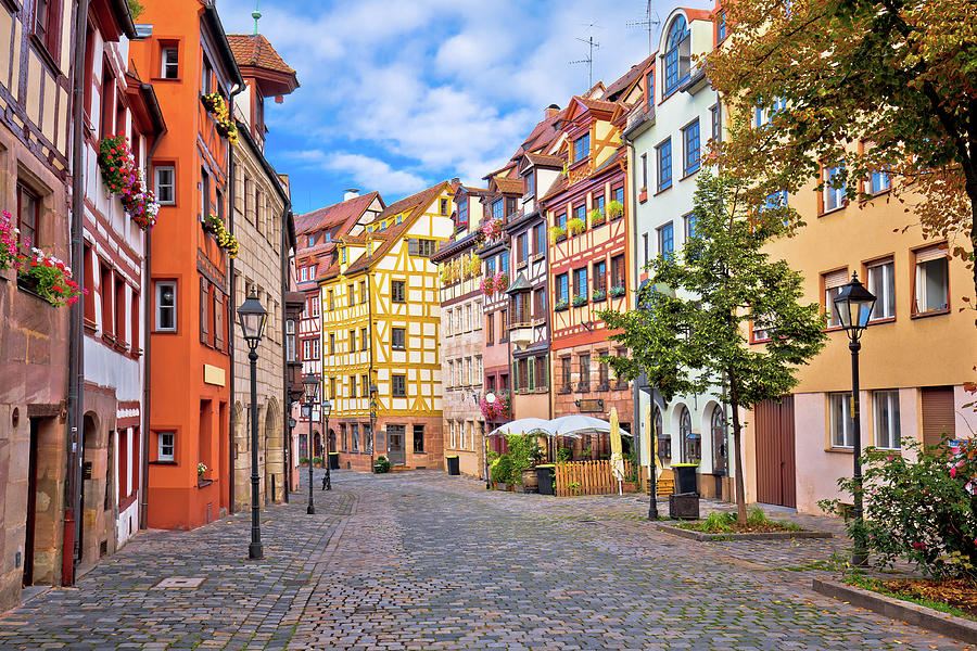 Nurnberg. Famous Weissgerbergasse historic street in Nuremberg o by Brch Photography