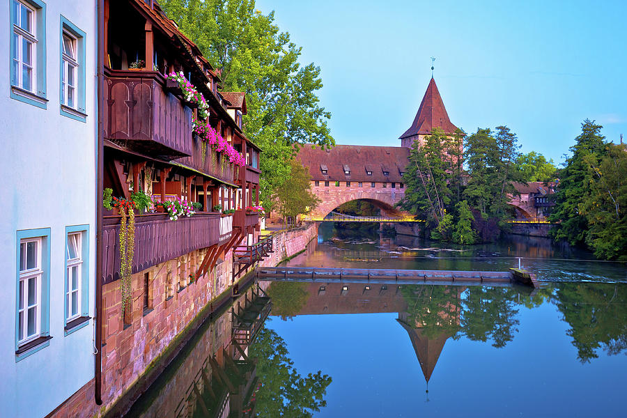 Nurnberg. Pegnitz river weaterfront in Nuremberg view by Brch Photography