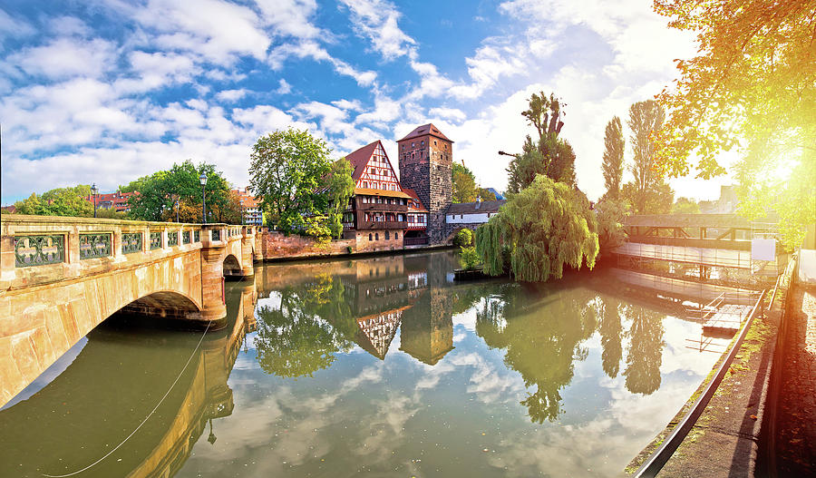 Nurnberg. Pegnitz river weaterfront Weinstadel and Henkersteg in by Brch Photography