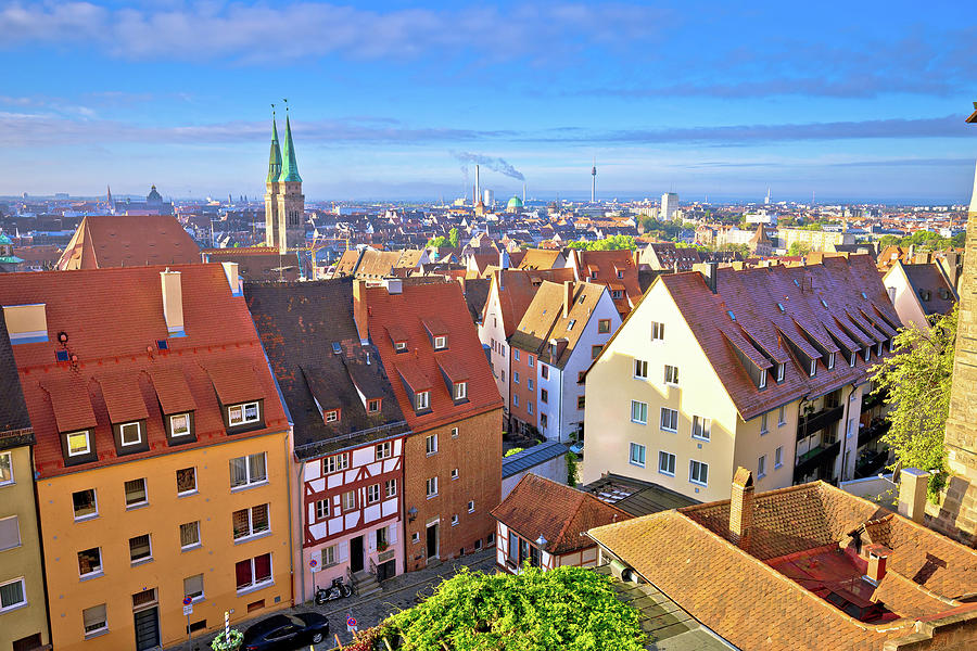 Nurnberg. Rooftops and cityscape of Nuremberg old town view by Brch Photography