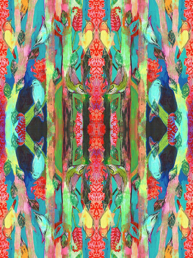 Nuthatch Forest Pattern Digital Art
