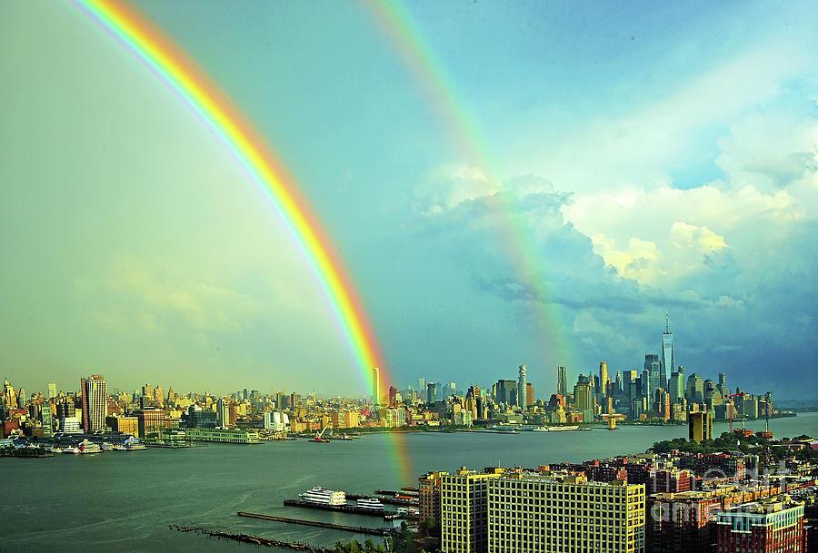 Ny-nj Hudson River View - Double Rainbow Photograph