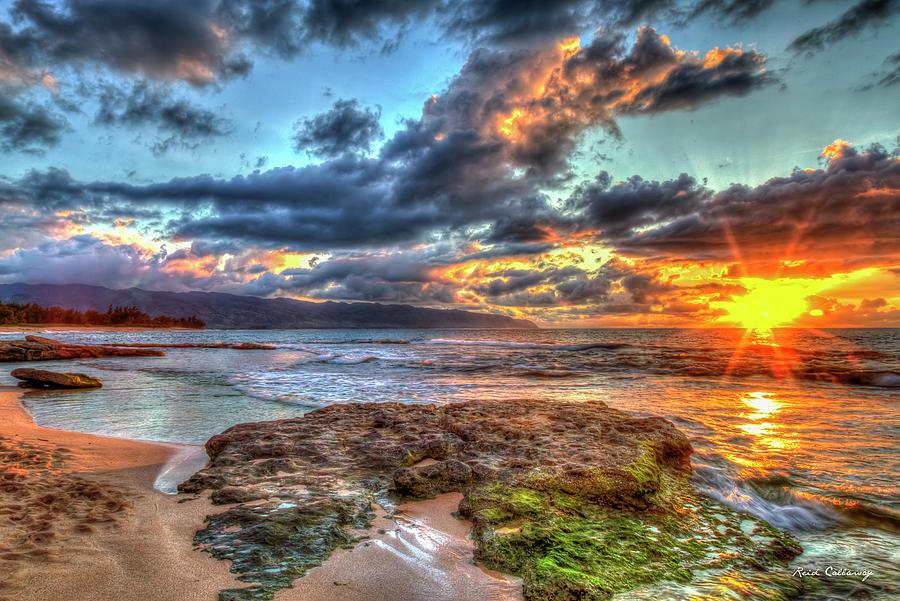 Pacific Ocean Sunset Photograph - Oahu Hawaii Dancing Light Across The Water 2 Pacific Ocean Sunset North Shore Seascape Art by Reid Callaway