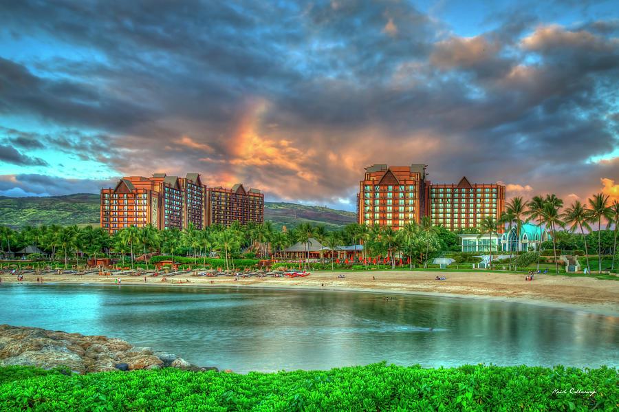 Oahu Hi Aulani Disney Resort And Spa Sunset Rainbow Reflections Seascape Art Photograph