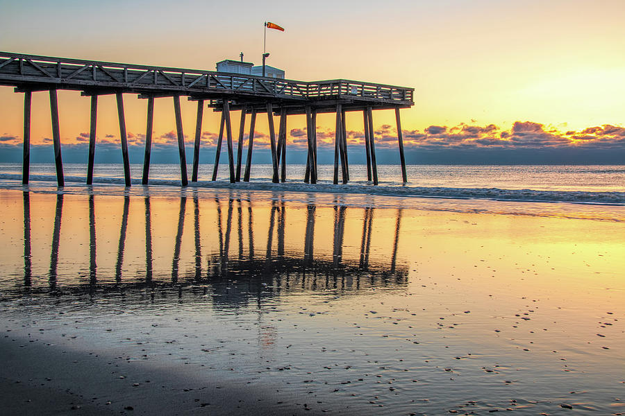Ocean City Fishing Pier Golden Hour by Kristia Adams