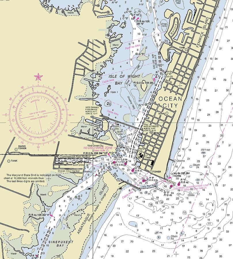 Ocean City Inlet Maryland Nautical Chart Digital Art By Sea Koast