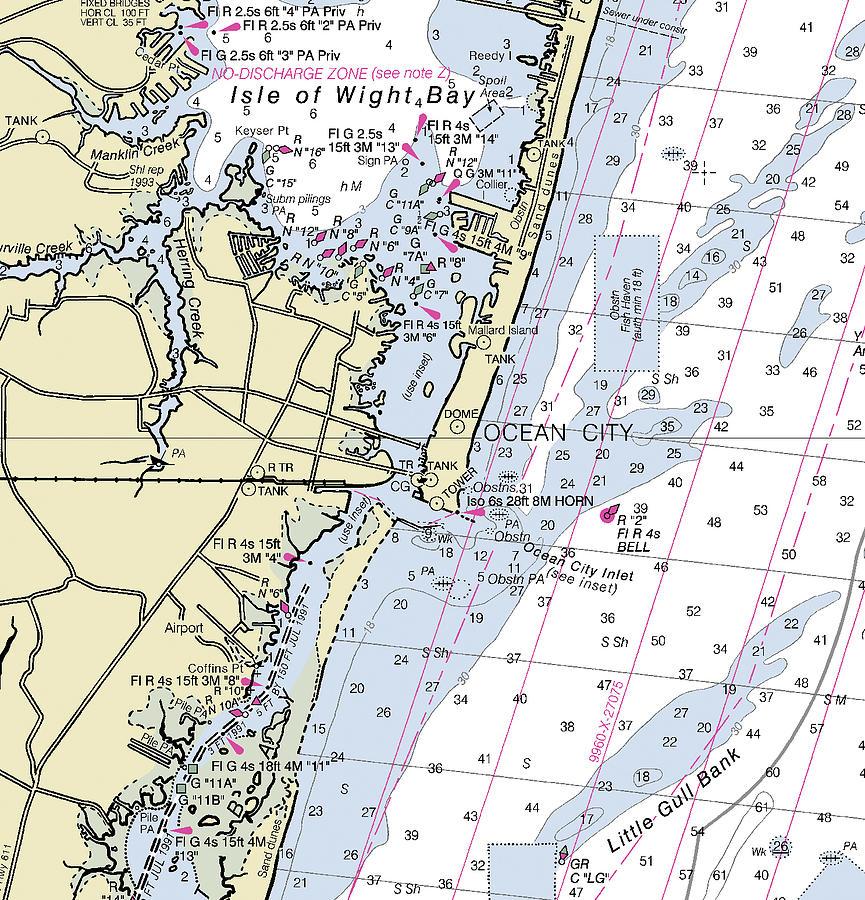 Ocean City Maryland Nautical Chart Digital Art By Sea Koast