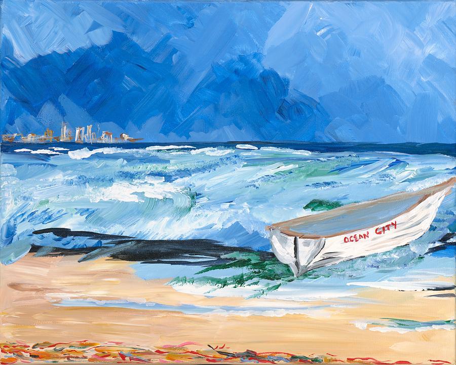Ocean City Painting - Ocean City NJ Lifeboat by Britt Miller