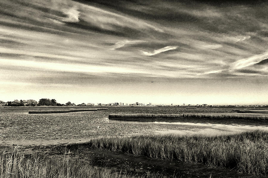 Ocean City Skyline and Assawoman Bay in Black and White by Bill Swartwout Photography