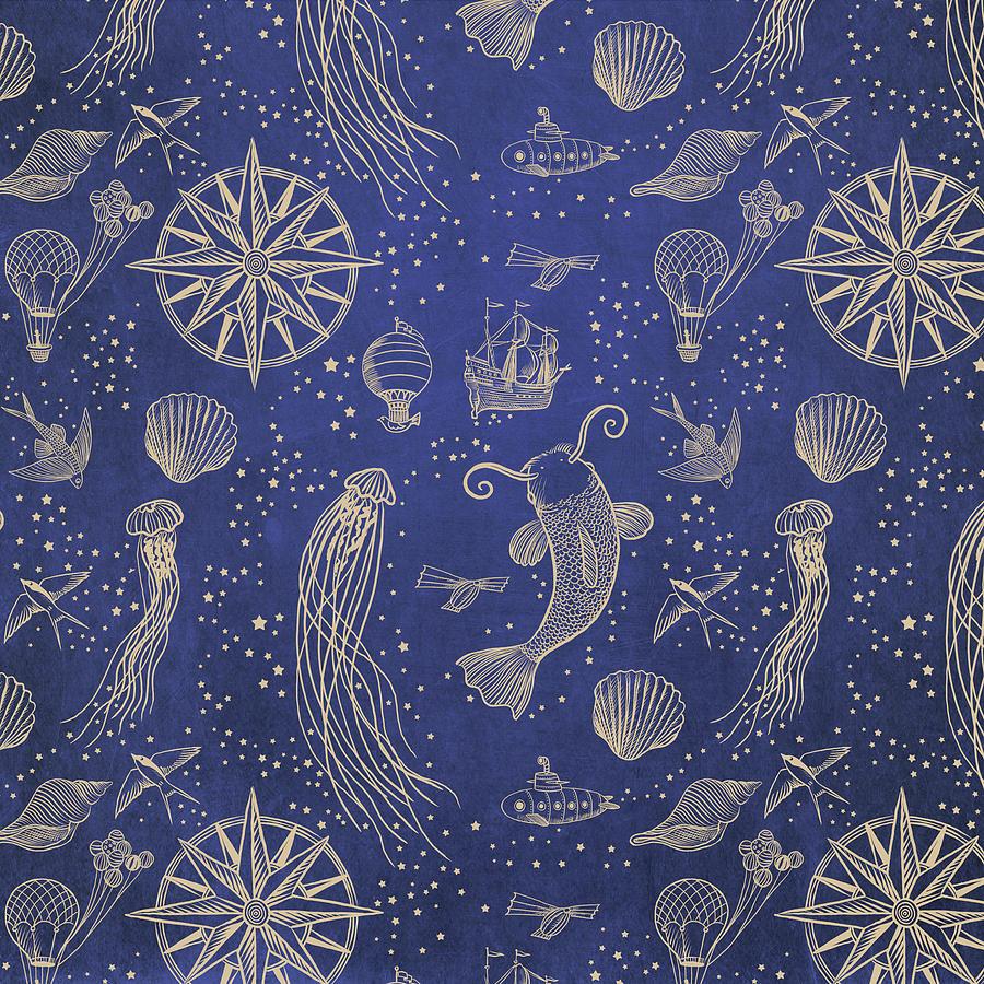 Gold Drawing - Ocean Meets Sky - Hardcase by Eric Fan