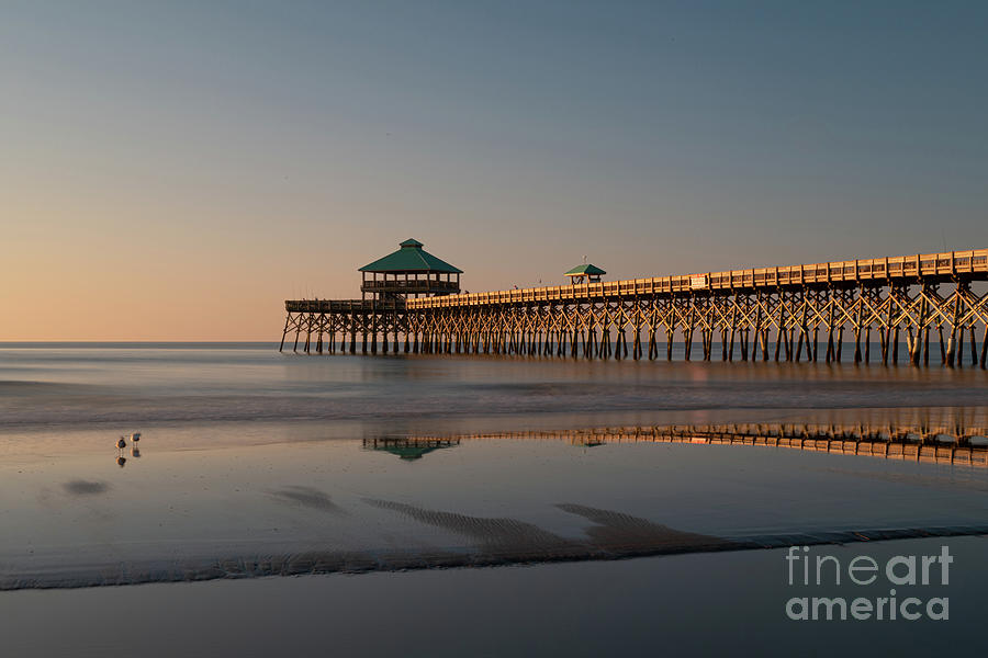 Charleston Photograph - Ocean Sunrise - Folly Beach - Fishing Pier by Dale Powell