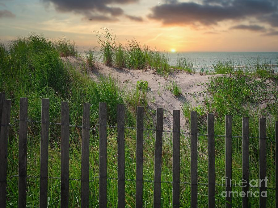 Fence Photograph - Ocean Sunset by Gina Matarazzo