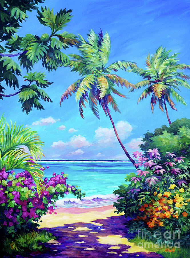 Cayman Painting - Ocean View with Breadfruit Tree by John Clark
