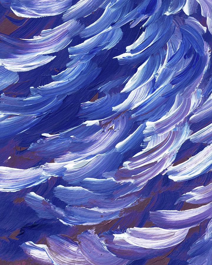 Ocean Wave Splash On The Shore Coastal Breeze Blues Painting