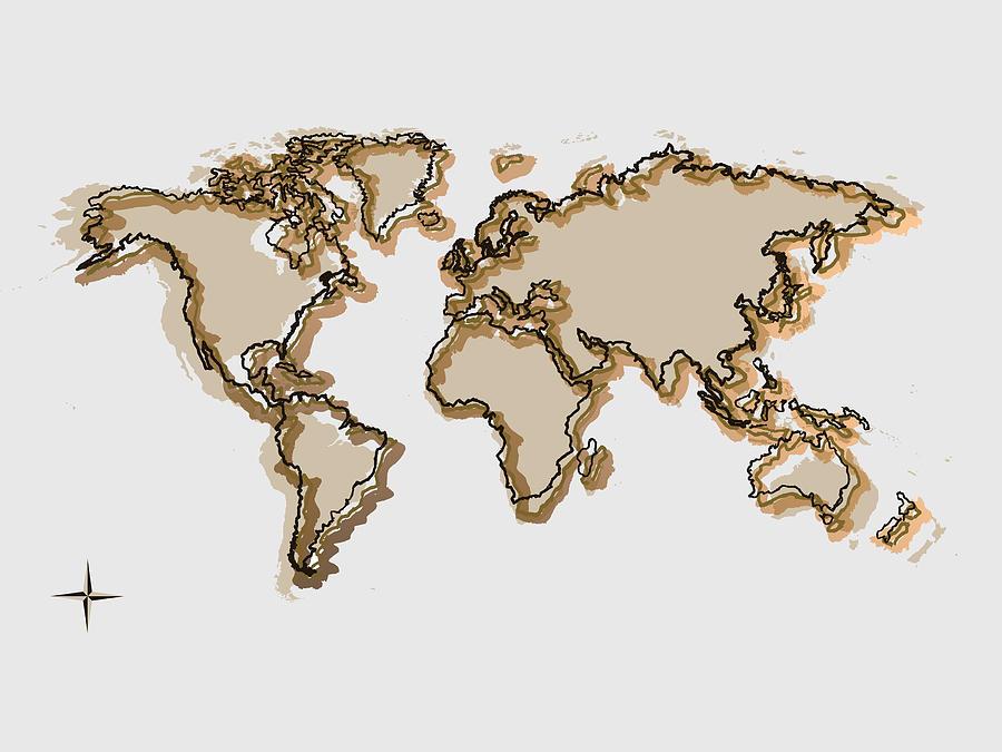 Ochre World Map Drawing Digital Art