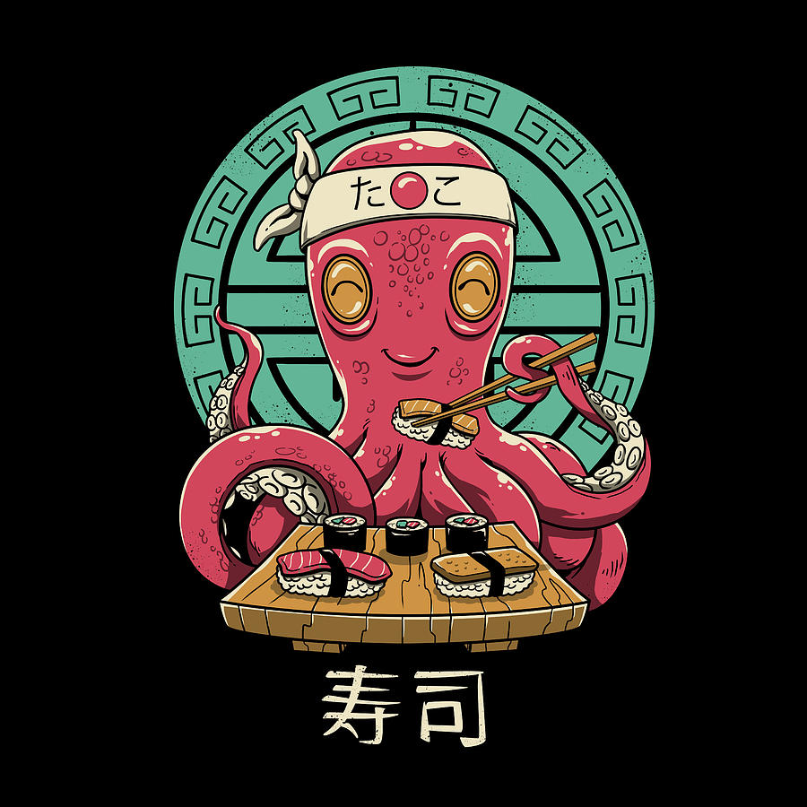 Food Home Decor Octo Sushi Poster Art Print
