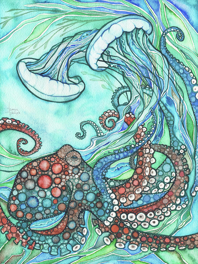 Ocean Painting - Octopus and Jellyfish by Tamara Phillips