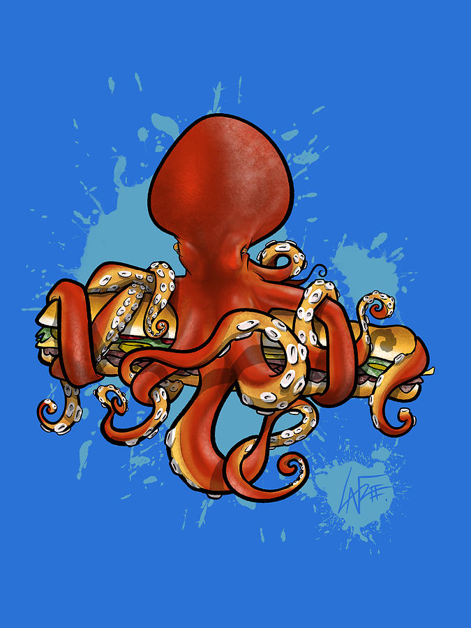 Octopus Attacking A Sub Drawing