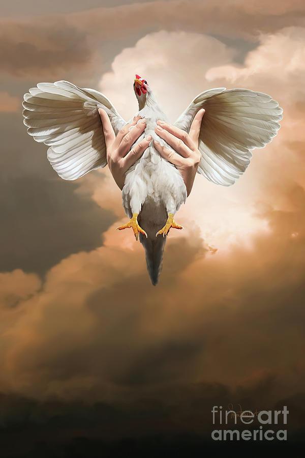 Chickens Digital Art - Ode to chicken love by Sigrid Van Dort